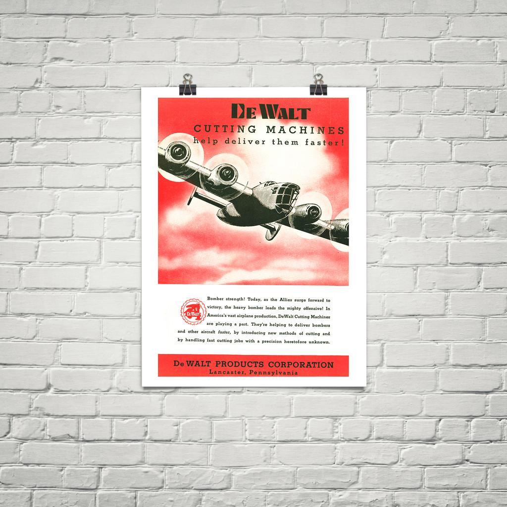 "DeWalt Cutting Machines ""Bomber Strength!"" Vintage Poster Mockup Art Display"
