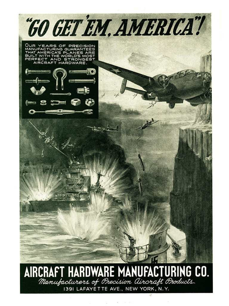 """Aircraft Hardware Manufacturing Co. """"Go Get 'Em America: Attack Run"""" Poster"""
