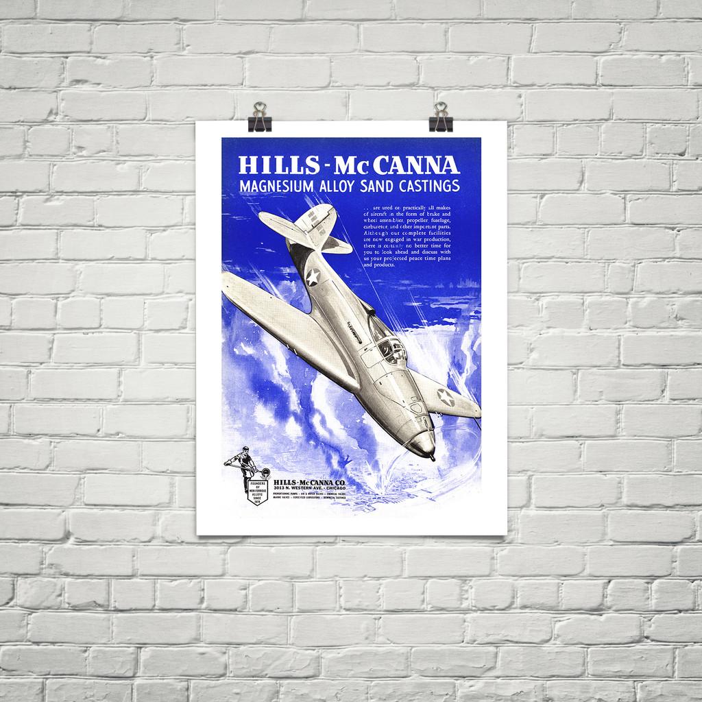 """Air Cobra"" Vintage Military Aviation Poster Mockup Art Display"
