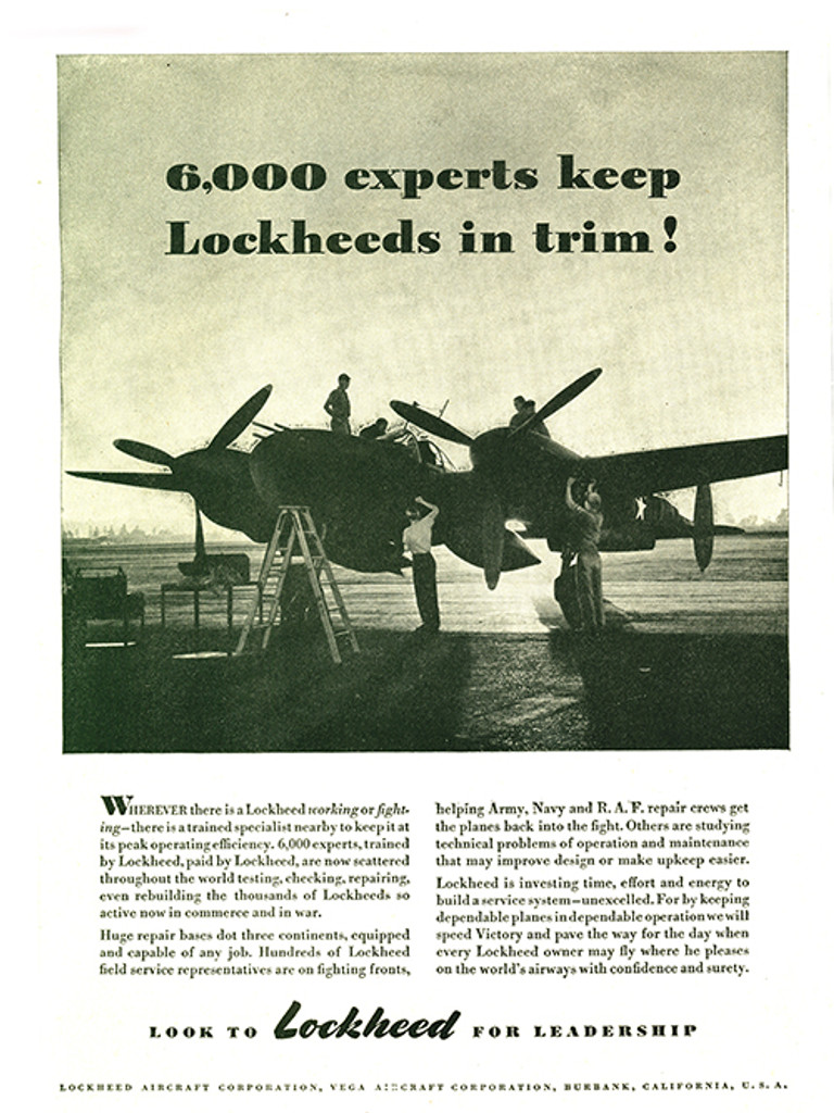 "P-38 Lockheed Lightning ""6000 Experts"" Vintage Military Aircraft Airplane Poster Ad Reproduction 24""x18"
