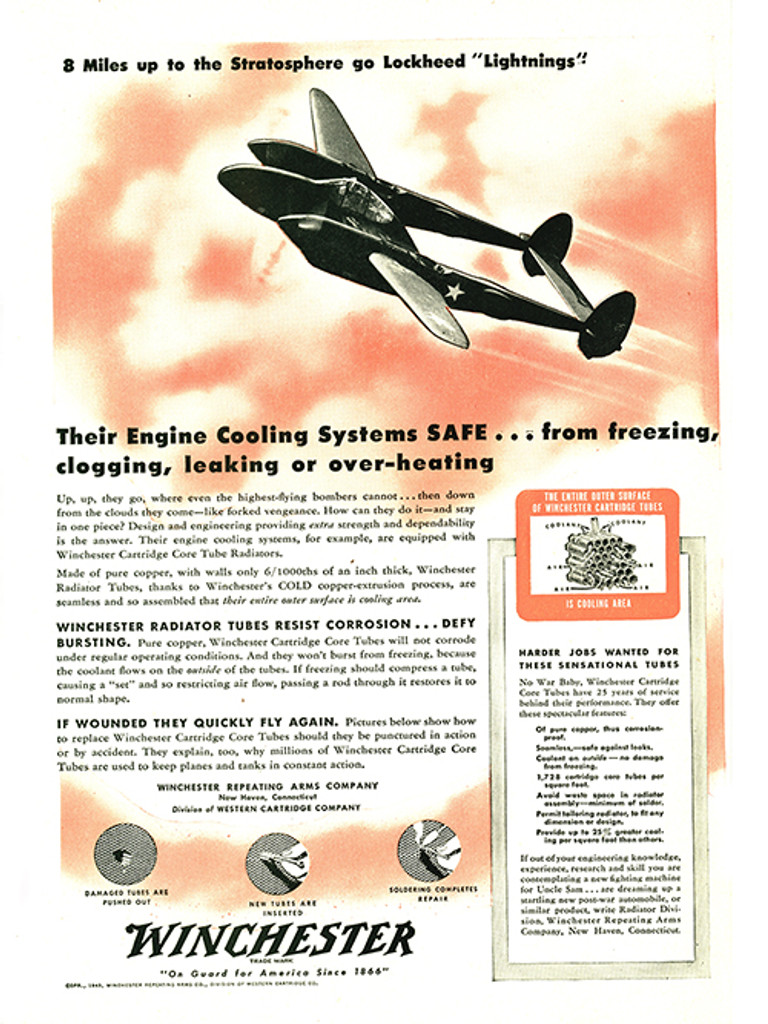 "P-38 Lockheed Lightning ""8 Miles Up"" Vintage Military Aircraft Airplane Poster Mockup Art Display"