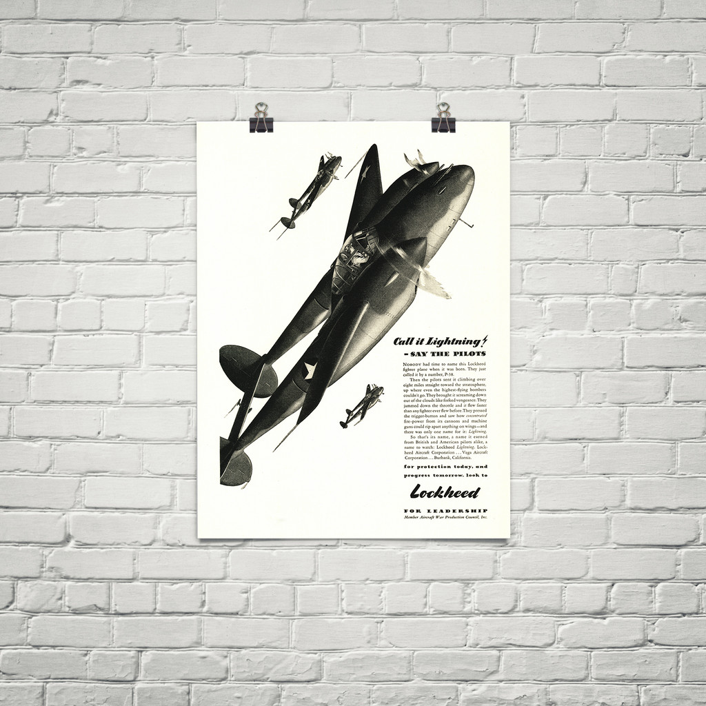 "P-38 Lockheed Lightning ""Call it Lightning"" Vintage Military Aircraft Airplane Poster"