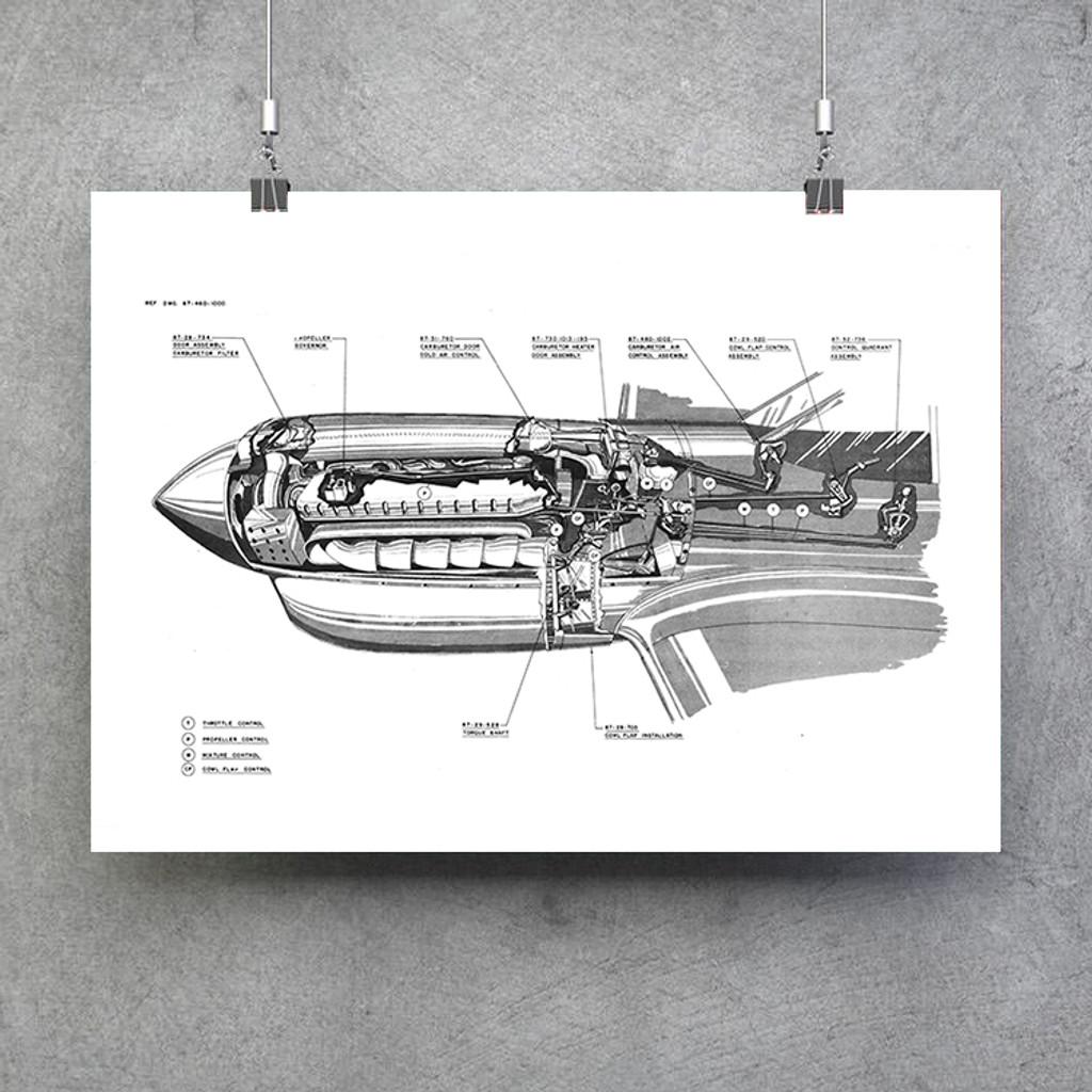 Curtiss P-40 Engine Cutaway Poster
