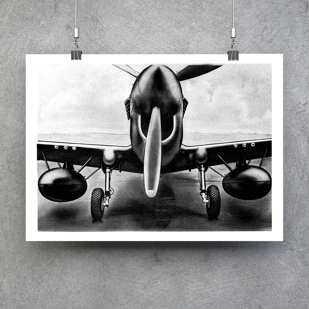 "P-40 Front Aircraft View Poster - Black and White Vintage Aviation  Fine Art Print 24""x18"""