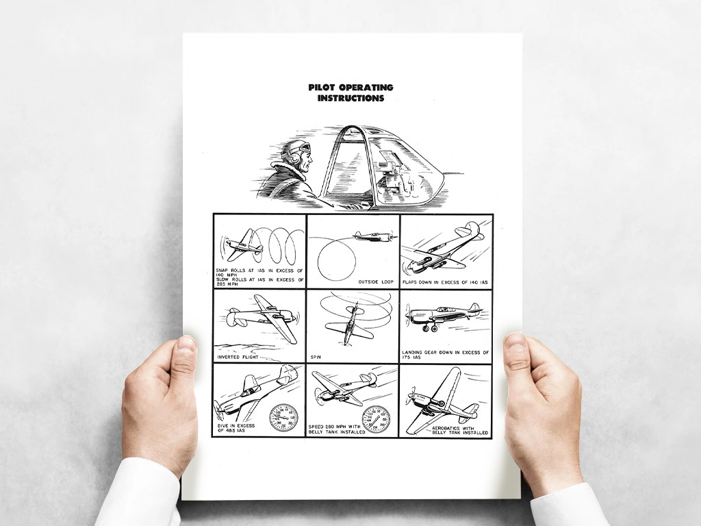 """P-40 Pilot Operating Instructions Poster - Black and White Vintage Aviation  Fine Art Print 24""""x18"""""""