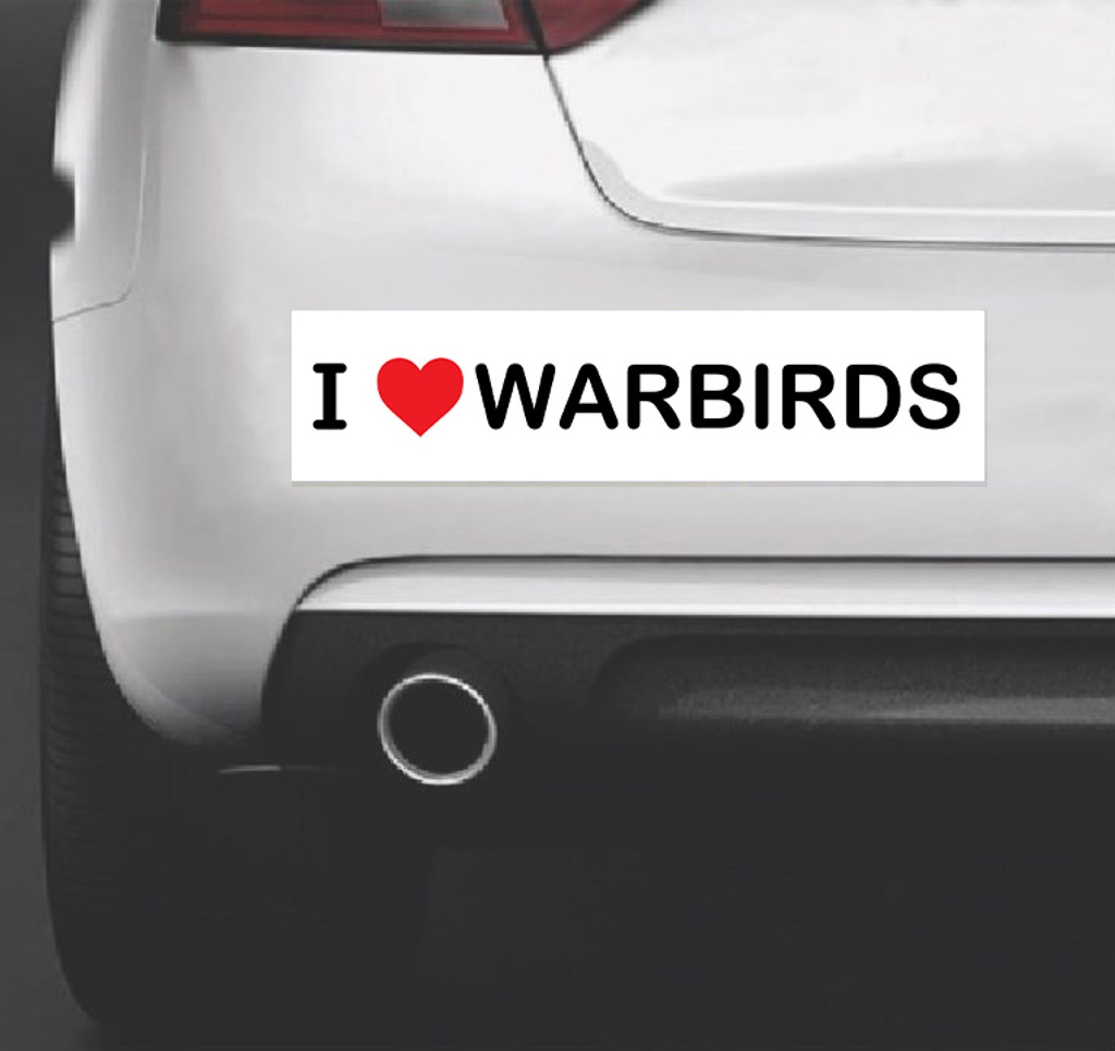 I Heart Warbirds - Bumper Sticker Vinyl Decal Vehicle Art for Airplane and Aviation Lovers