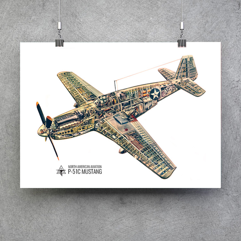 "P-51C Mustang Cutaway Vintage Military  Aircraft Poster 24""x18"