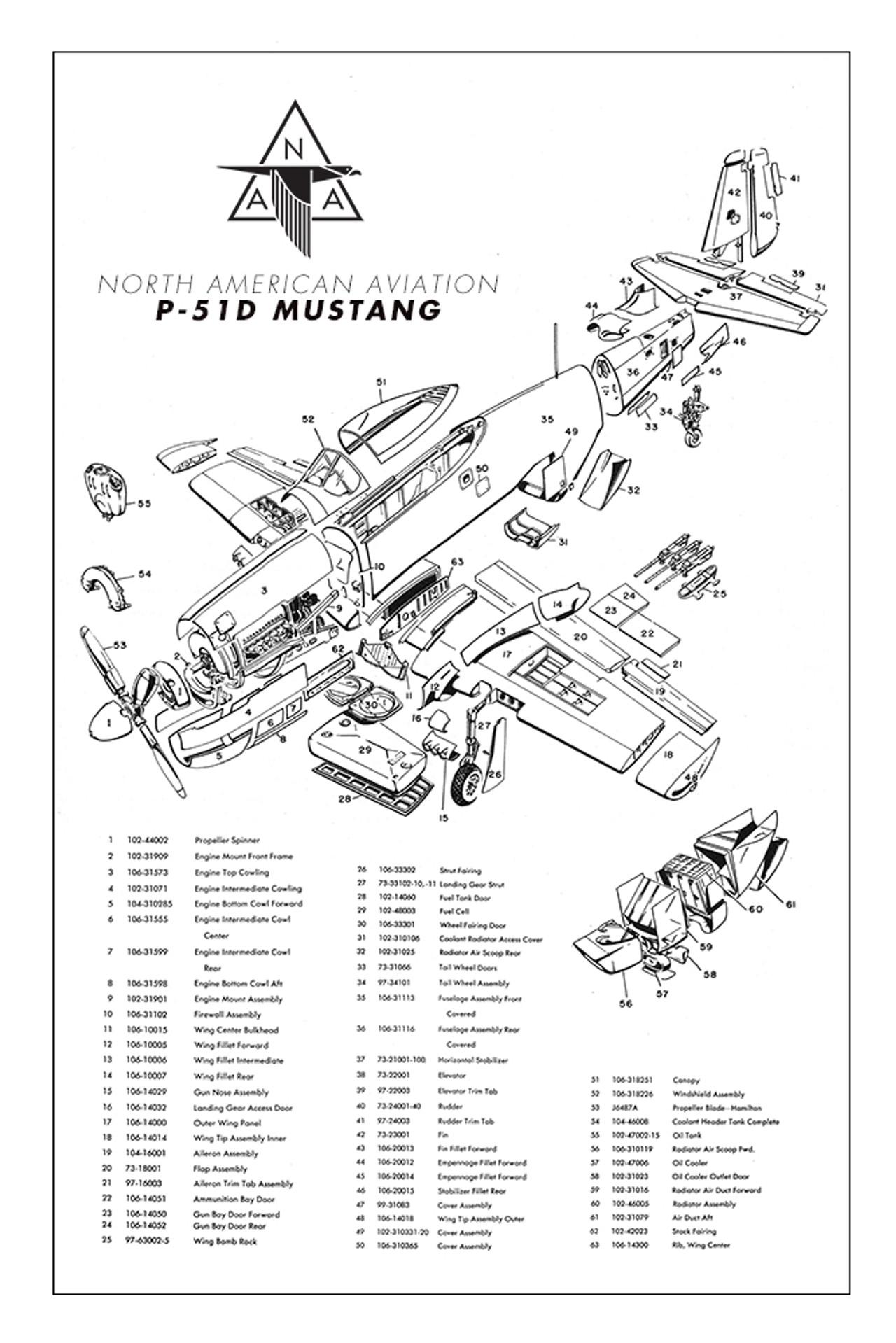 T-6 Texan Major Assemblies Military Aircraft Airplane Poster
