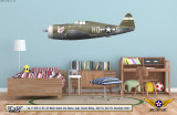 "P-47D Thunderbolt ""Queen City Mama"" Decorative Aircraft Profile on Kids Room Wall Mockup Display"