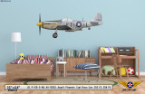 "P-51D Mustang ""Angels' Playmate"" Decorative Aircraft Profile on Kids Room Wall Mockup Display"