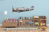 "P-47D Thunderbolt ""Fat Cat"" Decorative Military Aircraft Profile on Kids Room Wall Mockup Display"