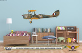 "DH.82A ""Tiger Moth"" Decorative Military Aircraft Profile on Kids Room Wall Mockup Display"