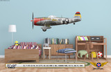 "P-47D Thunderbolt ""Big Ass Bird II"" Decorative Military Aircraft Profile on Kids Room Wall Mockup Display"
