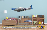 """P-51D Mustang """"Petie 3rd"""" Decorative Military Aircraft Profile on Kids Room Wall Mockup Display"""