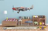 "P-51D Mustang ""Ridge Runner III"" Decorative Military Aircraft Profile on Kids Room Wall Mockup Display"