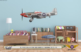 "P-51D Mustang ""Ridge Runner III"" Decorative Military Aircraft Profile on Kids Room Wall Mockup Display"