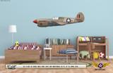 "P-40F Warhawk ""Miss Fury"" Decorative Military Aircraft Profile on Kids Room Wall Mockup Display"