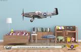 "P-51D Mustang ""Big Beautiful Doll"" Decorative Military Aircraft Profile on Kids Room Wall Mockup Display"