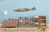 BF 109G-6 Messerschmitt Decorative Military Aircraft Profile on Kids Room Wall Mockup Display