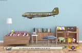 "C-47A Dakota ""Honeybun III"" Decorative Military Aircraft Profile on Kids Room Wall Mockup Display"