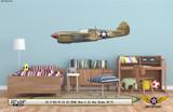 "P-40L Warhawk ""Nona II"" Decorative Military Aircraft Profile  on Kids Room Wall Mockup Display"