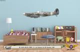 Spitfire Mk Vb Decorative Military Aircraft Profile on Kids Room Wall Mockup Display