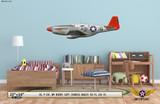 "P-51C Mustang ""My Buddy"" Decorative Military Aircraft Profile on Kids Room Wall Mockup Display"