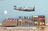 "P-47D Thunderbolt ""Lethal Liz II"" Decorative Military Aircraft Profile on Kids Room Wall Mockup Display"