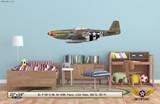 "P-51D Mustang ""Frenesi"" Decorative Military Aircraft Profile on Kids Room Wall Mockup Display"