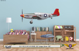 "P-51C Mustang ""Tuskegee Airmen"" Decorative Military Aircraft Profile on Kids Room Wall Mockup Display"