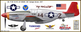 """P-51C Mustang """"Tuskegee Airmen"""" Decorative Military Aircraft Profile"""