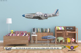 "P-51D Mustang ""Sierra Sue II"" Decorative Military Aircraft Profile on Kids Room Wall Mockup Display"