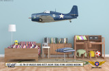 FM-2P Wildcat Decorative Military Aircraft Profile on Kids Room Wall Mockup Display