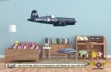 F4U-5P Vought Corsair Decorative Military Aircraft Profile on Kids Room Wall Mockup Display