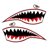 Flying Tigers P-40 Warhawk Shark Mouth Teeth Nose Art Military Aircraft Decal - Includes 2 Mirrored Decals (SM-01)