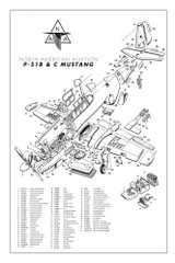 P-51B & C Mustang Major Assemblies Airplane Poster