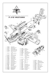 P-51D Mustang Major Assemblies Military Aircraft Airplane Poster