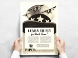 "Piper Cub ""Learn To Fly"" Vintage Military Aircraft Airplane Poster"