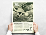 """Piper Cub """"Medical Mission!"""" Vintage Military Aircraft Airplane Poster"""