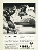 """Piper Cub """"Arctic Rescue!"""" Vintage Military Aircraft Airplane Poster"""