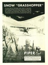 "Piper Cub ""Snow Grasshopper"" Vintage Military Aircraft Airplane Poster Mockup Art Display"