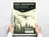 """Piper Cub """"Snow Grasshopper"""" Vintage Military Aircraft Airplane Poster"""
