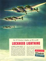 P-38 Lockheed Lightning Vintage B.F. Goodrich Poster