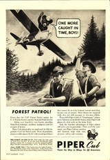"Piper Cub ""Forest Patrol!"" Vintage Military Aircraft Airplane Poster"