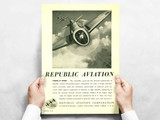 """Republic Aviation """"Power At Work"""" P-47 Thunderbolt Vintage Military Aircraft Airplane Poster"""