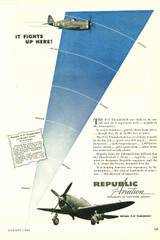 "Republic Aviation ""It Fights Up here!"" P-47 Thunderbolt Vintage Military Aircraft Airplane Poster"
