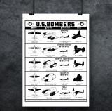 U.S. Bombers - WII Military Aircraft Identification Poster Mockup Art Display