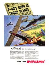 "P-40 ""Triumph in Tunisia Vintage Airplane Poster"
