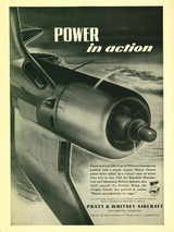 "Corsair ""Power in Action"" Vintage Military Pratt & Whitney Aircraft Airplane Poster"