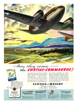 """Curtiss Comando """"Here they come"""" Vintage Aircraft Poster"""